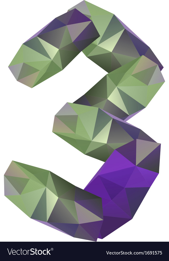 Geometric crystal digit 3 vector | Price: 1 Credit (USD $1)