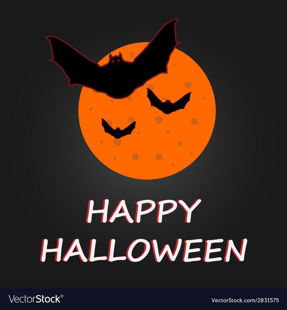 Hallaween bat to moon poster vector | Price: 1 Credit (USD $1)