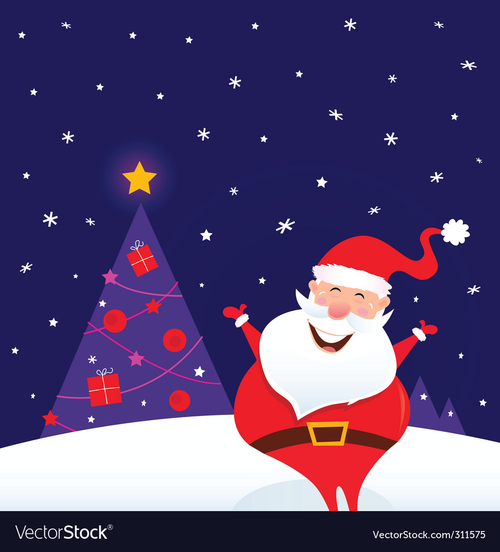 Happy santa and christmas tree vector | Price: 1 Credit (USD $1)