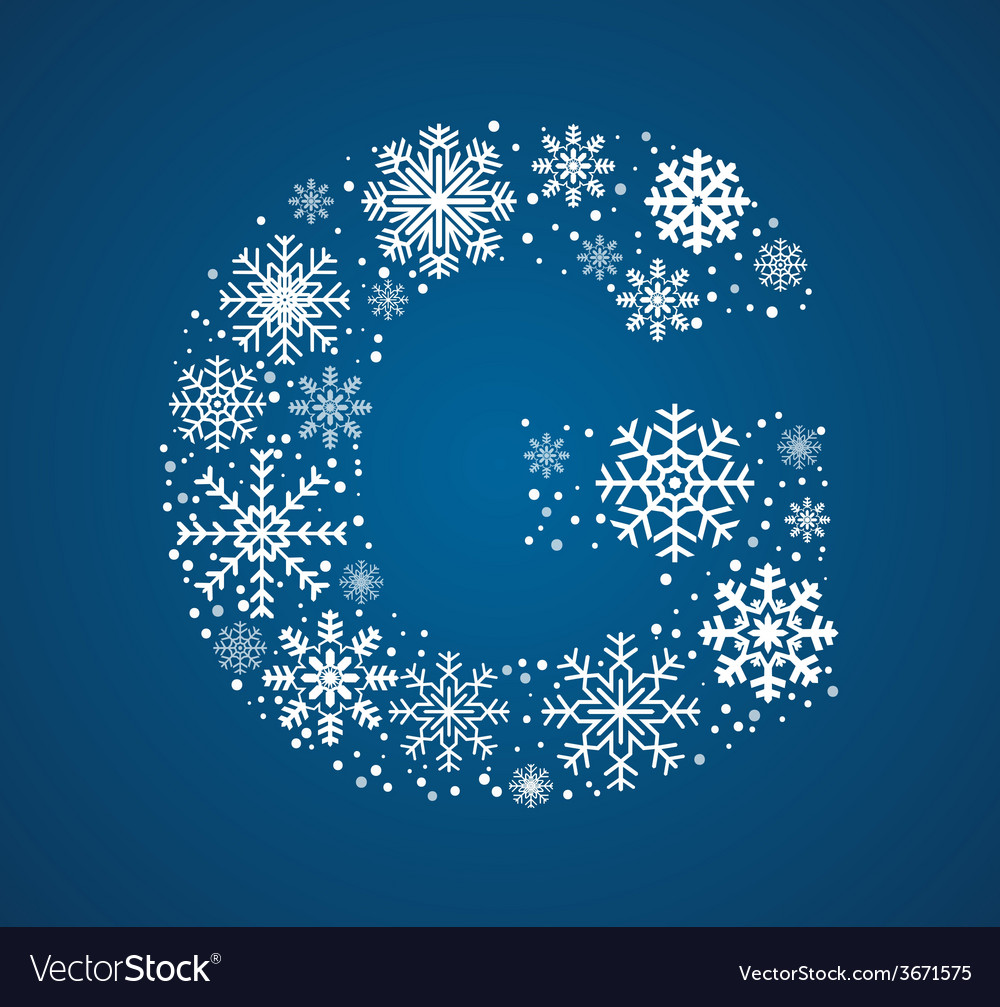 Letter g font frosty snowflakes vector | Price: 1 Credit (USD $1)