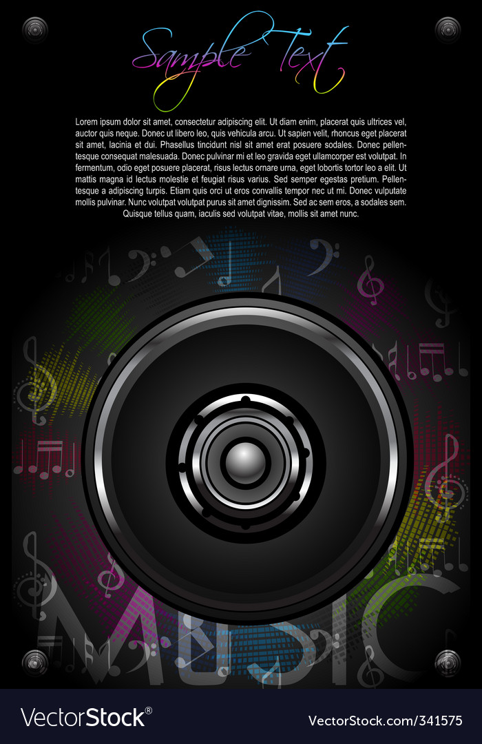 Loud speaker and music notes vector | Price: 1 Credit (USD $1)