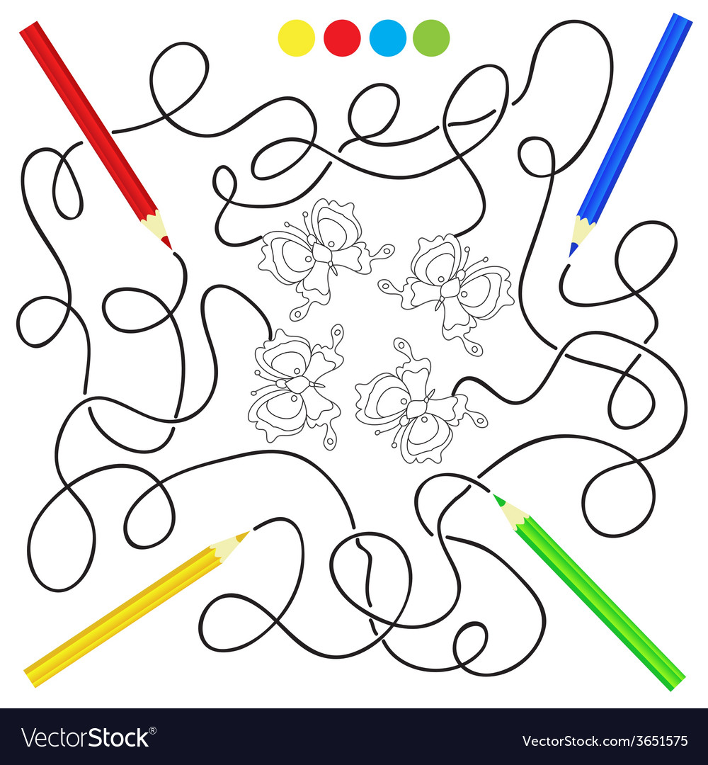Maze game and coloring activity page for kids vector | Price: 1 Credit (USD $1)
