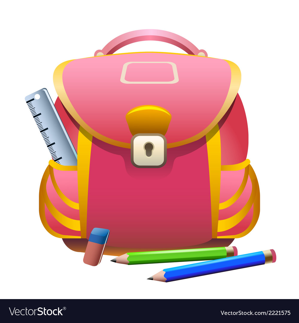 School bag and pencils vector | Price: 1 Credit (USD $1)