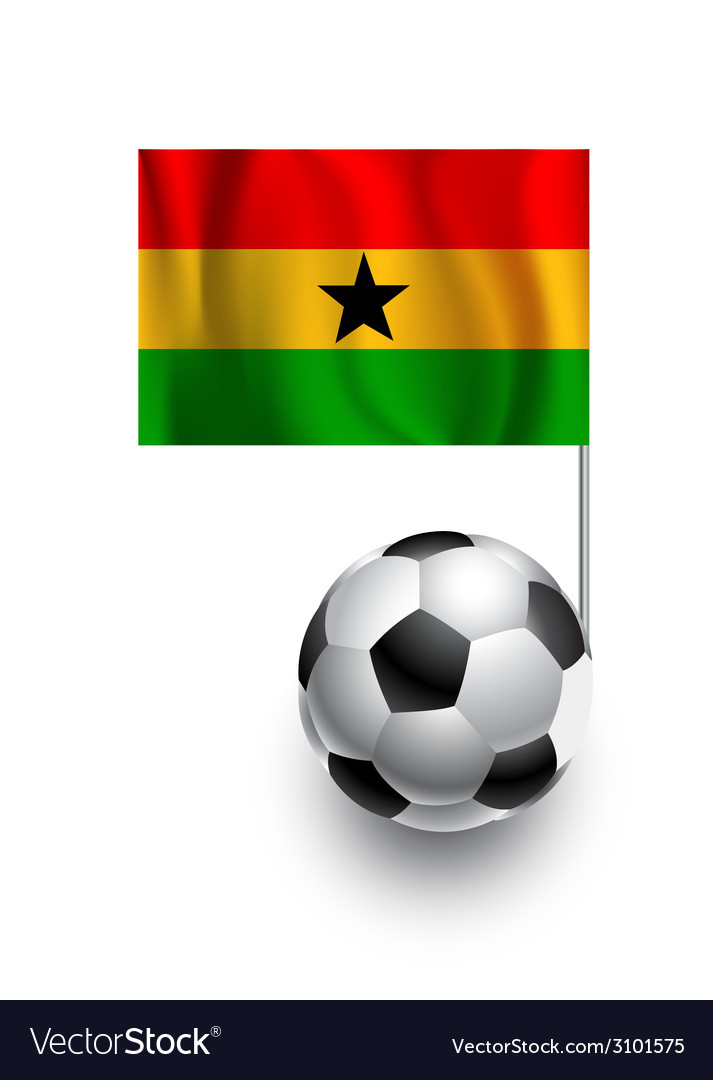 Soccer balls footballs with pennant flag of gana vector | Price: 1 Credit (USD $1)