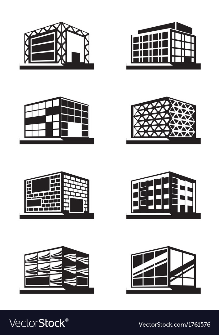 Different facades of buildings vector | Price: 1 Credit (USD $1)