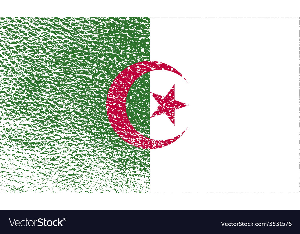 Flag of algeria with old texture vector | Price: 1 Credit (USD $1)