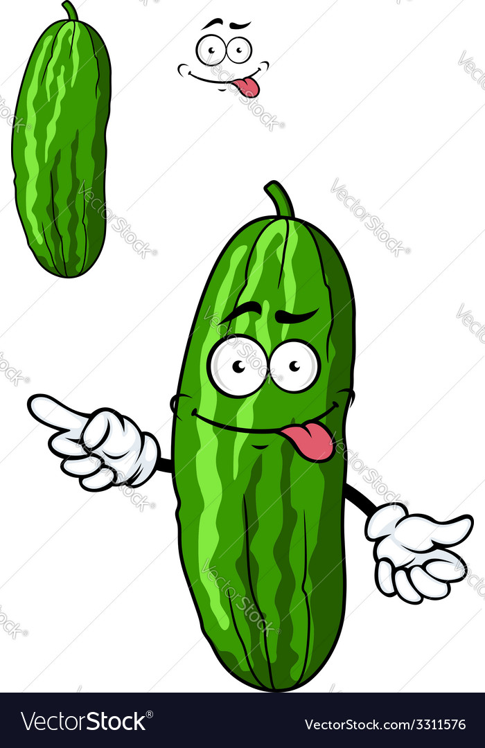 Green cartoon cucumber vegetable vector | Price: 1 Credit (USD $1)