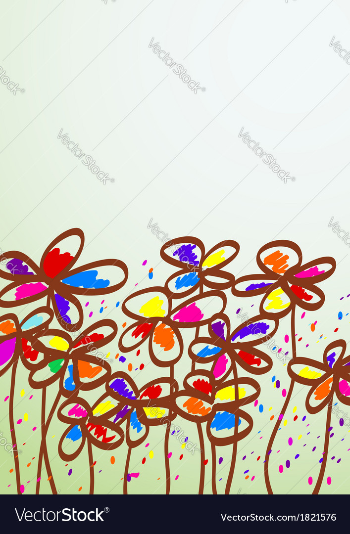 Hand drawn childish flowers vector | Price: 1 Credit (USD $1)