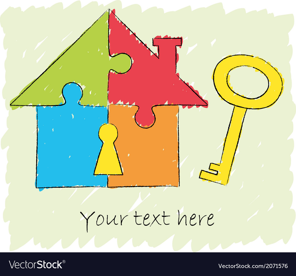 Puzzle house with key drawing vector | Price: 1 Credit (USD $1)