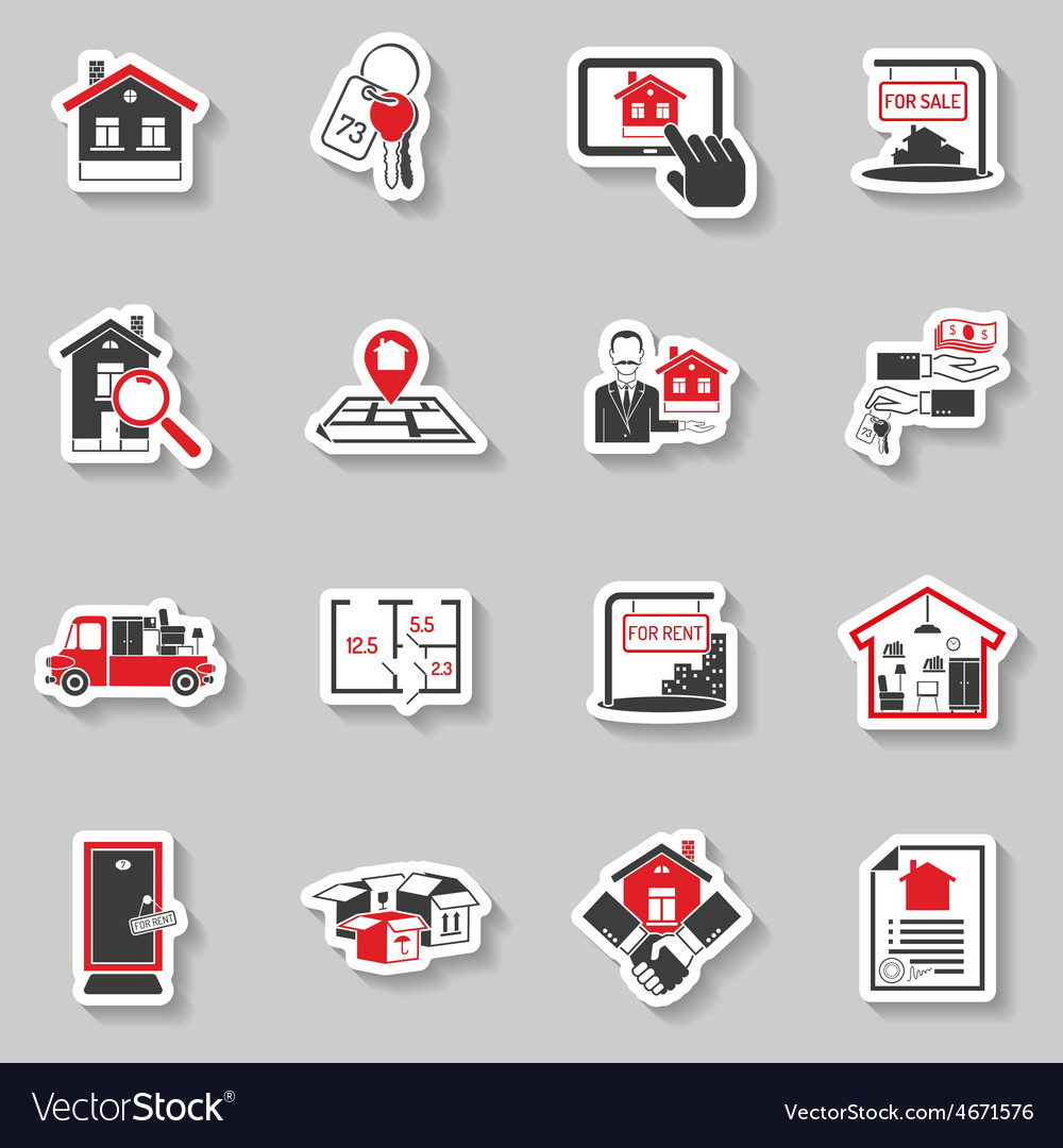 Real estate sticker set vector | Price: 1 Credit (USD $1)
