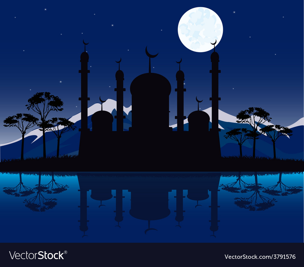 Silhouette to mosques in the night vector | Price: 1 Credit (USD $1)