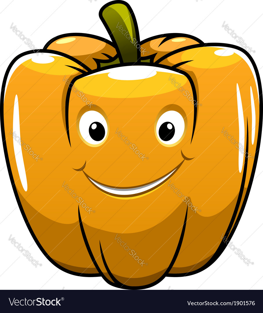 Smiling orange cartoon pepper vector | Price: 1 Credit (USD $1)