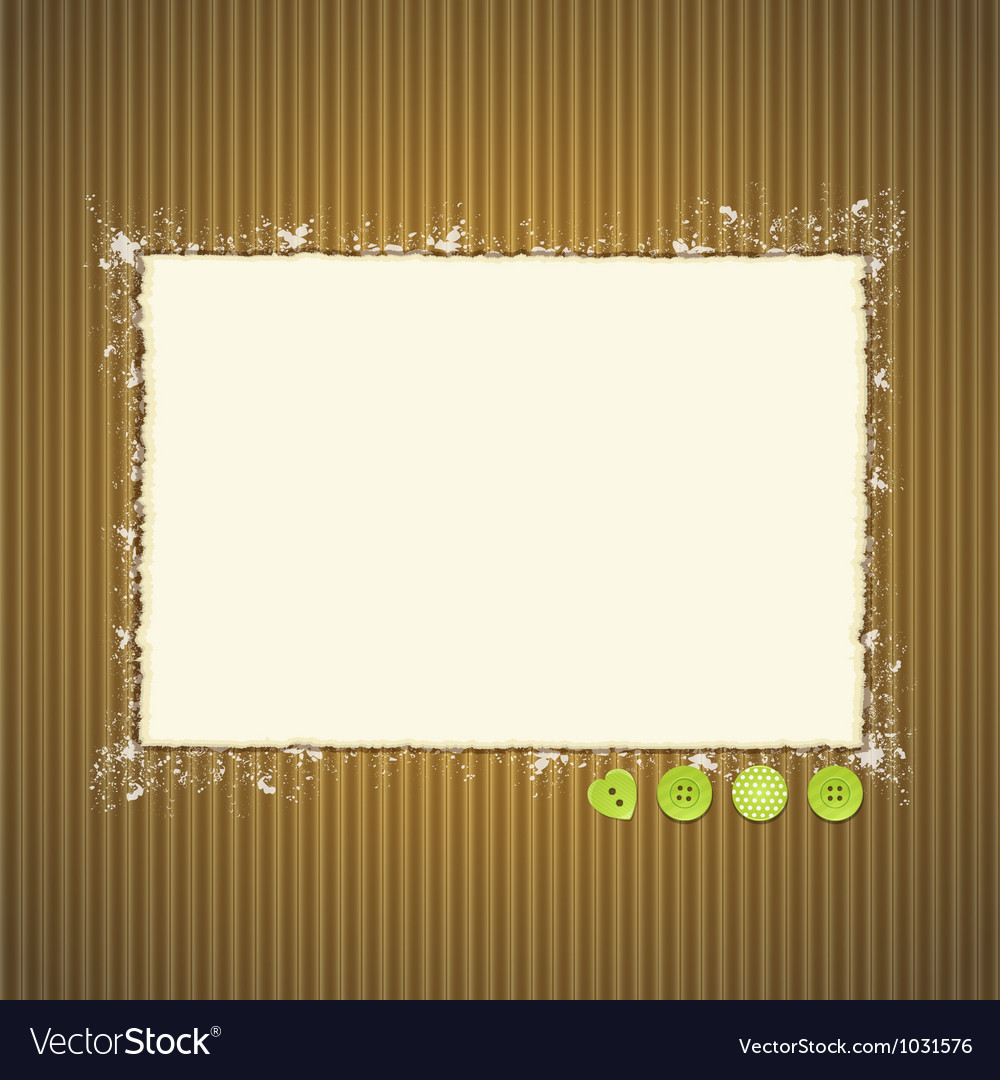 Torn paper on cardboard with buttons vector