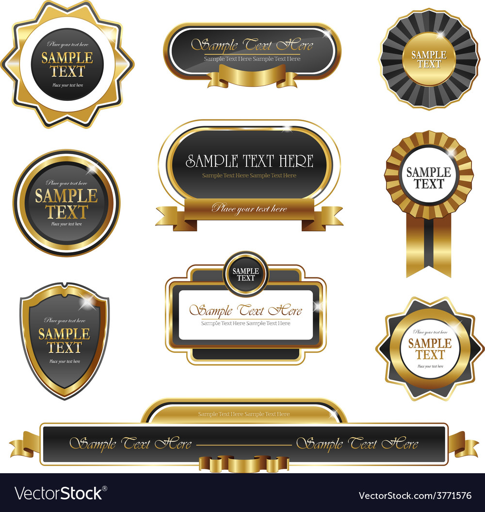Vintage gold frame banners vector | Price: 3 Credit (USD $3)