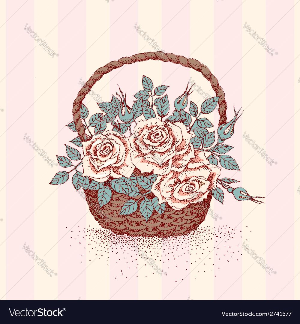 Basket rose vector | Price: 1 Credit (USD $1)