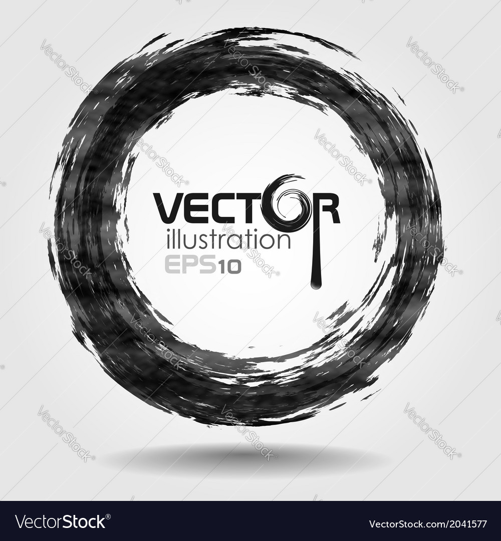 Black brush stroke in the form of a circle vector | Price: 1 Credit (USD $1)