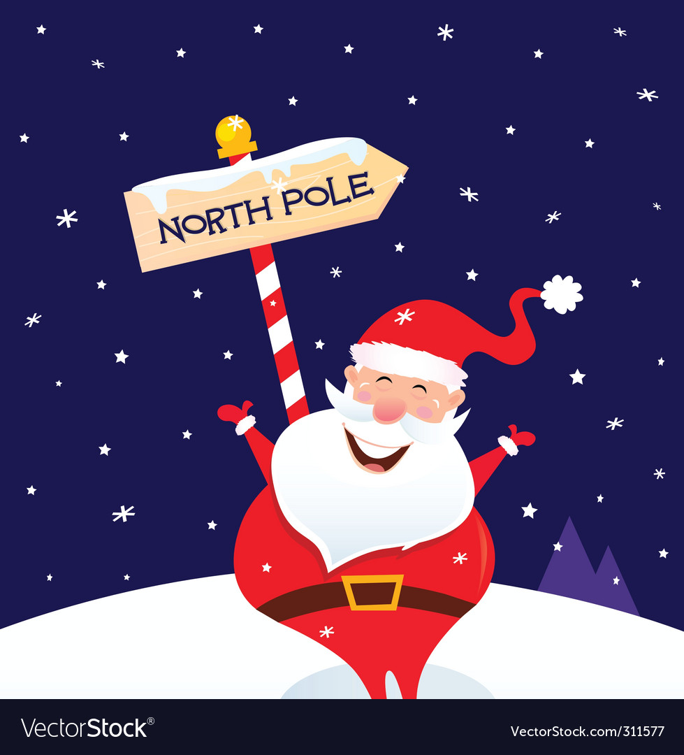 Christmas santa on north pole vector | Price: 1 Credit (USD $1)