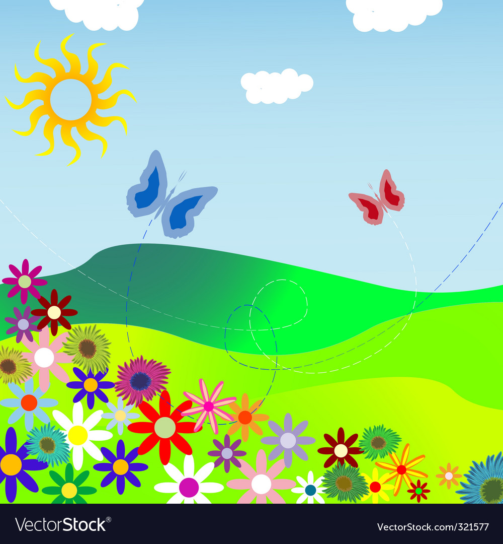 Flowers and field vector | Price: 1 Credit (USD $1)