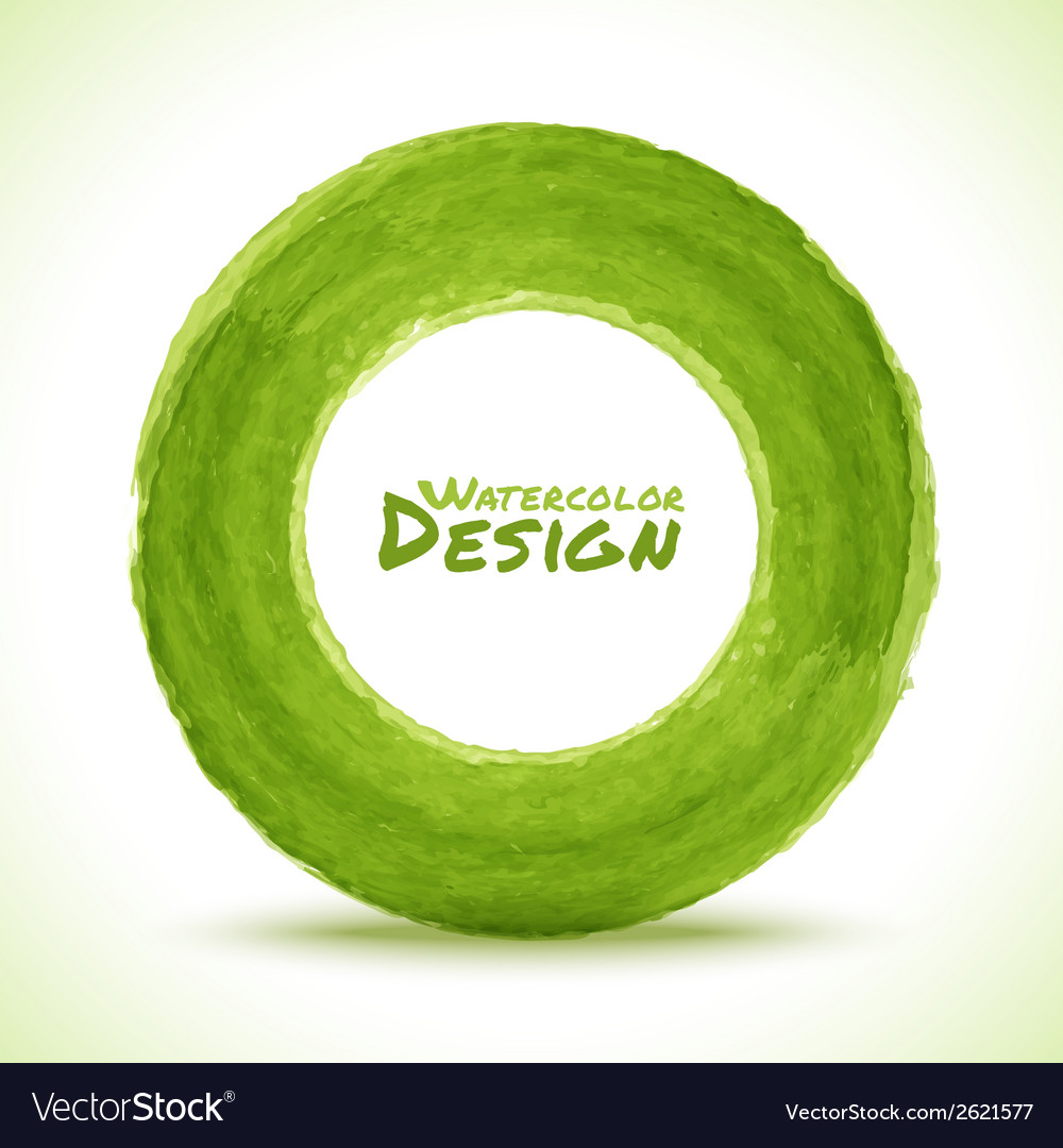 Hand drawn watercolor green circle design element vector | Price: 1 Credit (USD $1)