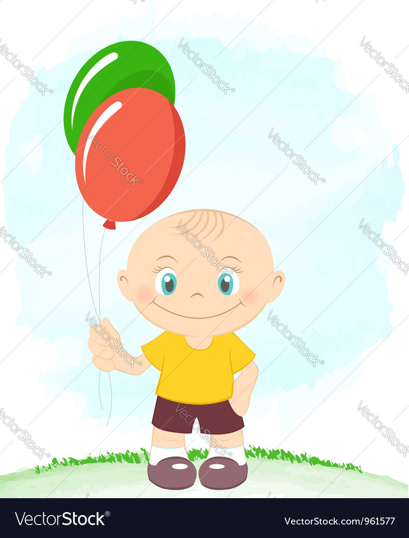 Little boy with toy balloons vector | Price:  Credit (USD $)