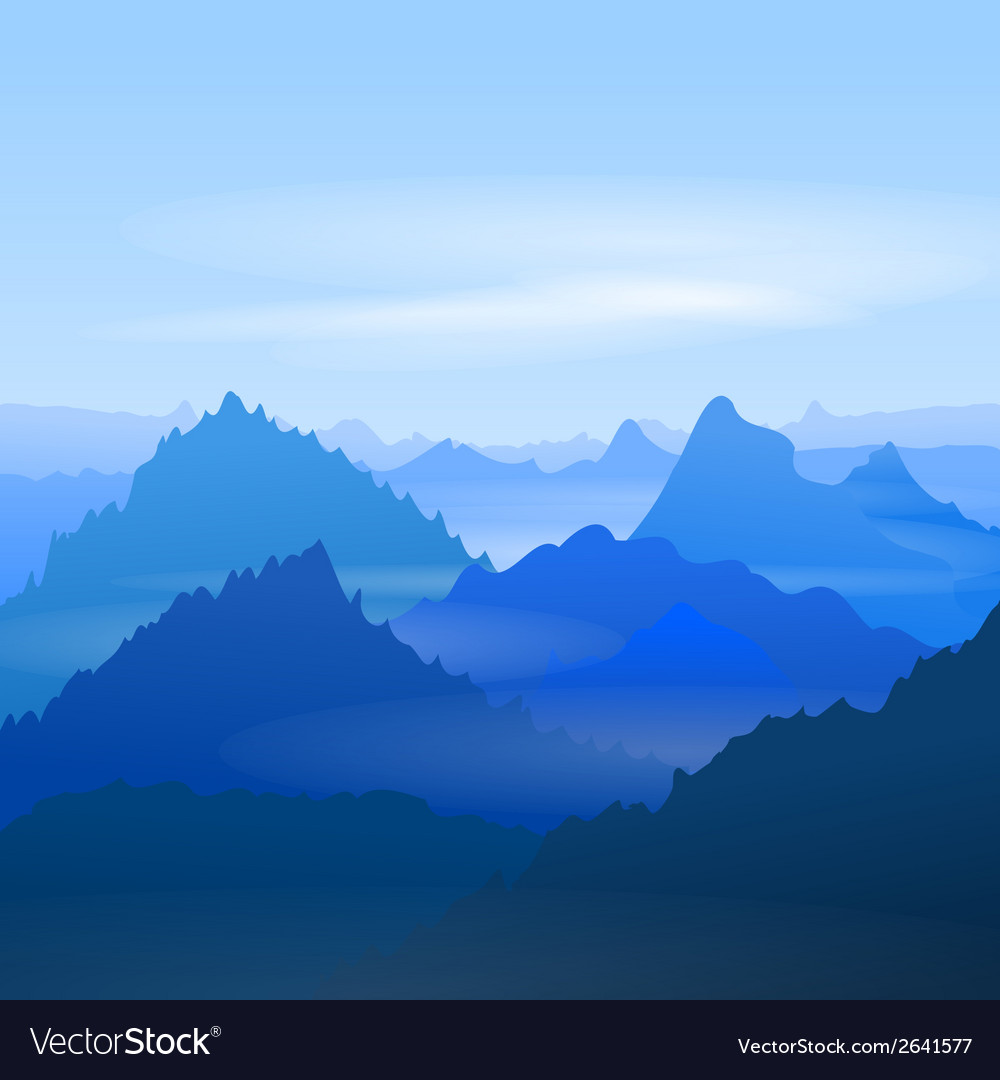 Majestic blue mountains vector | Price: 1 Credit (USD $1)