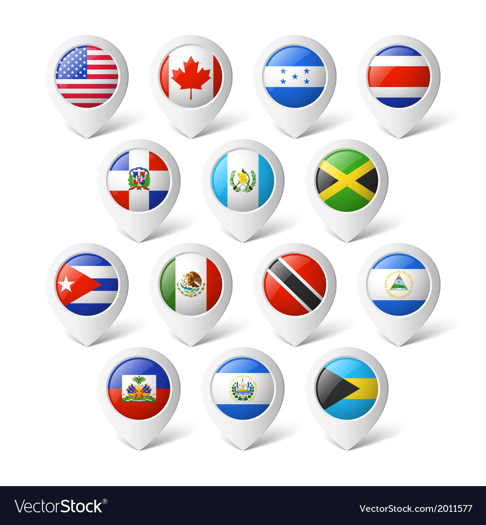 Map pointers with flags north america vector | Price: 1 Credit (USD $1)