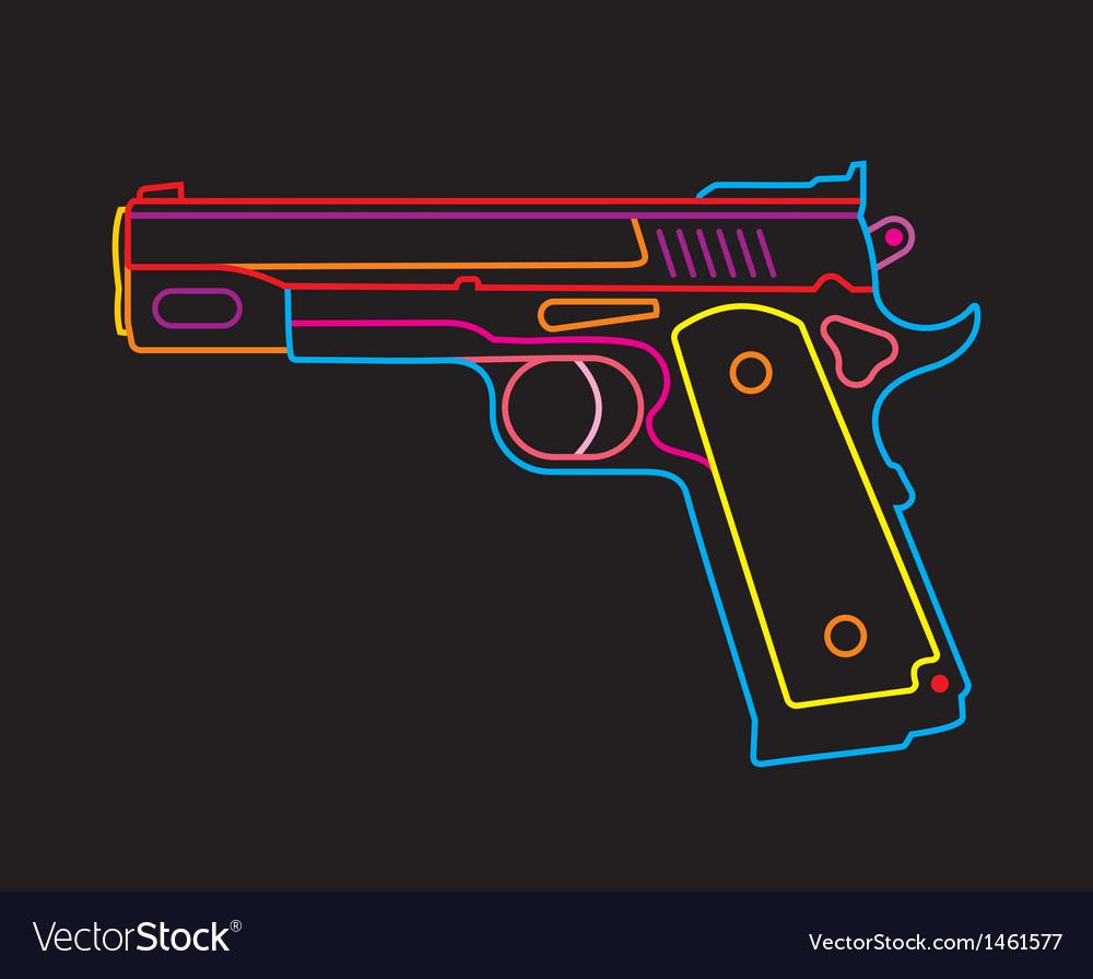 Neon handgun vector | Price: 1 Credit (USD $1)