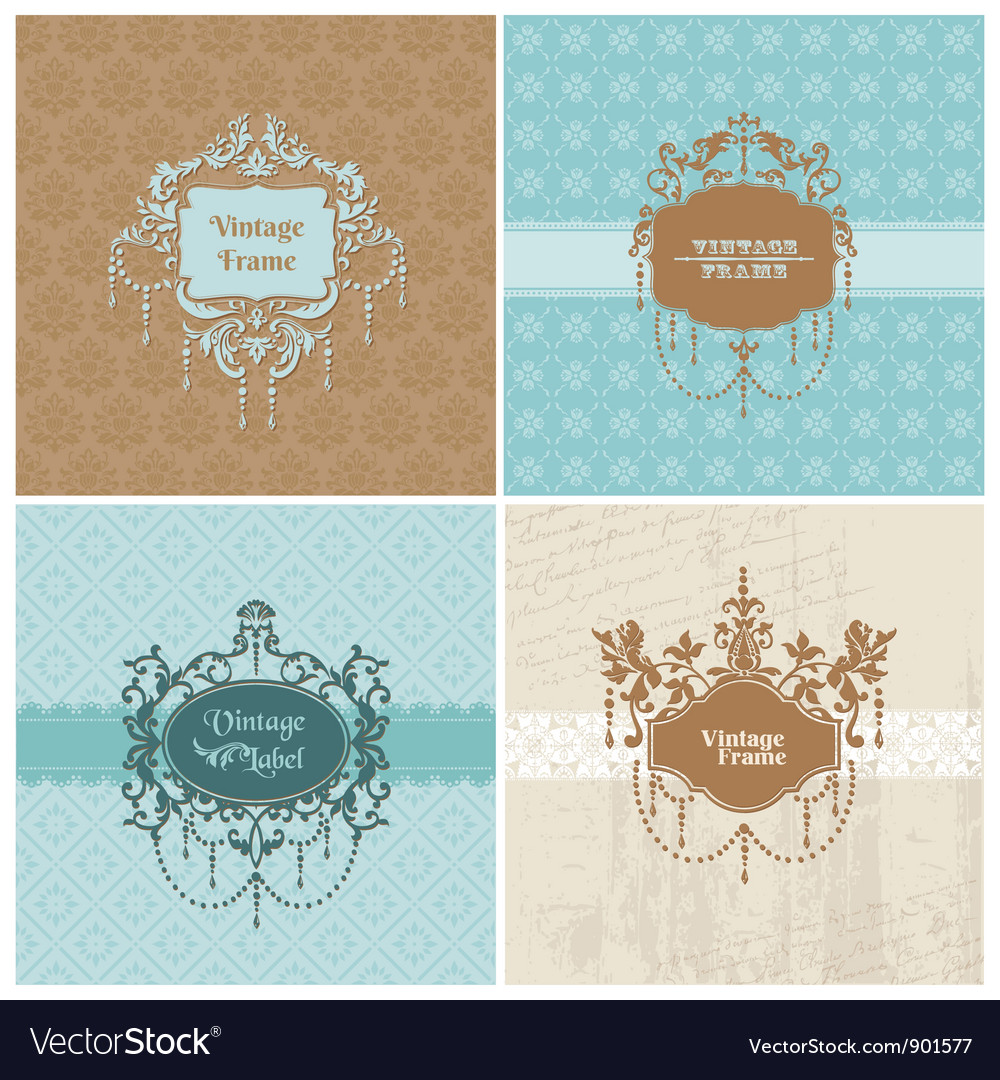 Set of retro cards with photo frame vector | Price: 1 Credit (USD $1)