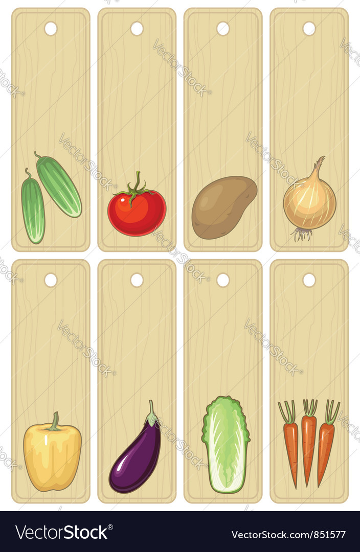 Vegetables label vector | Price: 1 Credit (USD $1)
