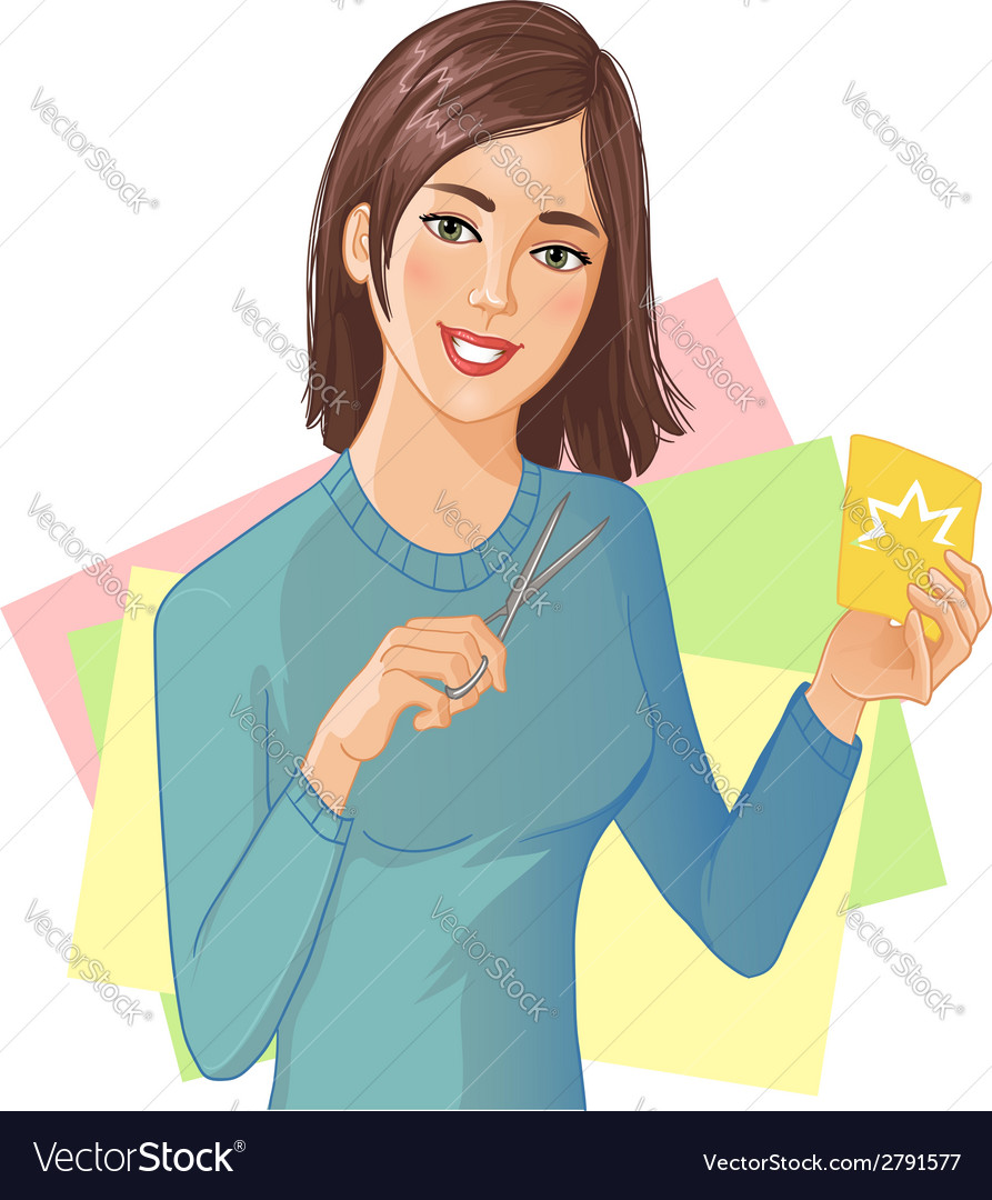 Young beautiful girl is cutting color paper with vector | Price: 1 Credit (USD $1)