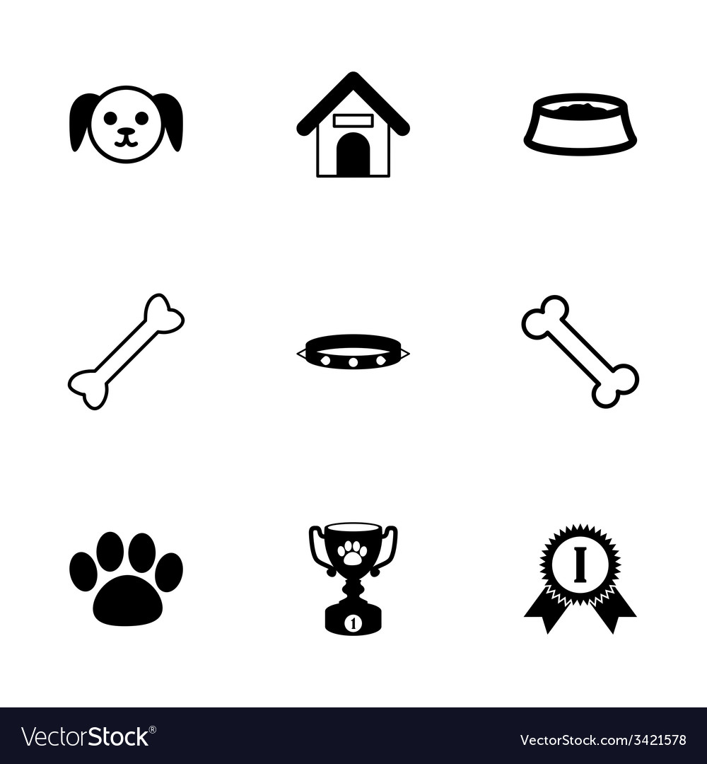 Black dog icon set vector   Price: 1 Credit (USD $1)