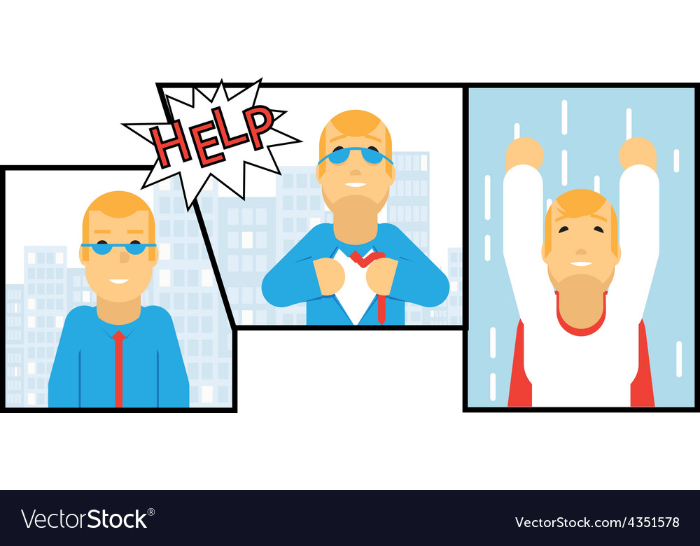 Businessman transformation super hero character vector | Price: 1 Credit (USD $1)
