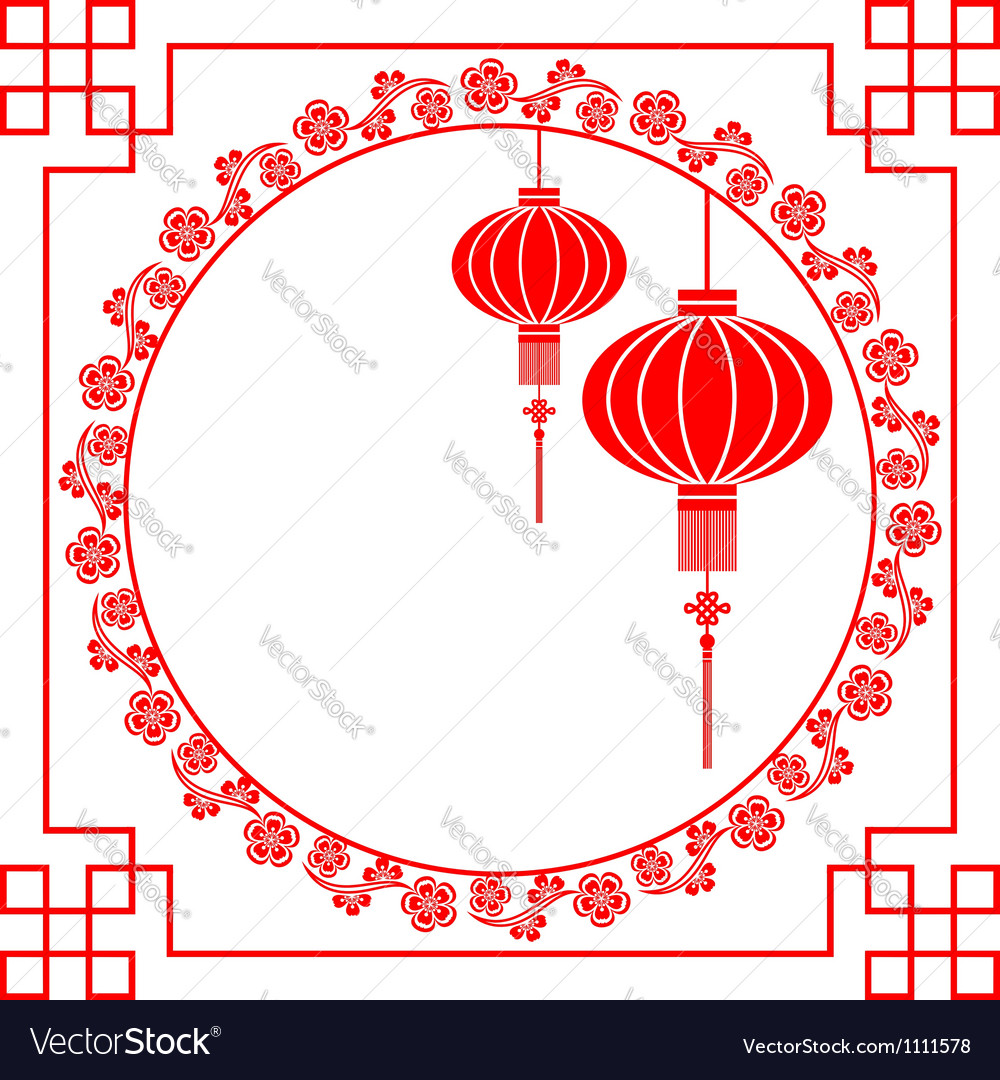 Chinese paper cutting motif chinese lantern vector | Price: 1 Credit (USD $1)