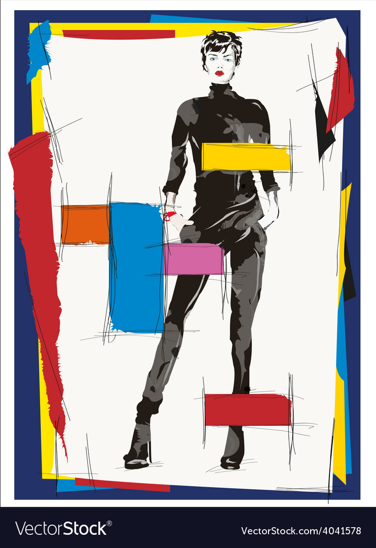 Cubism fashion woman vector | Price: 1 Credit (USD $1)