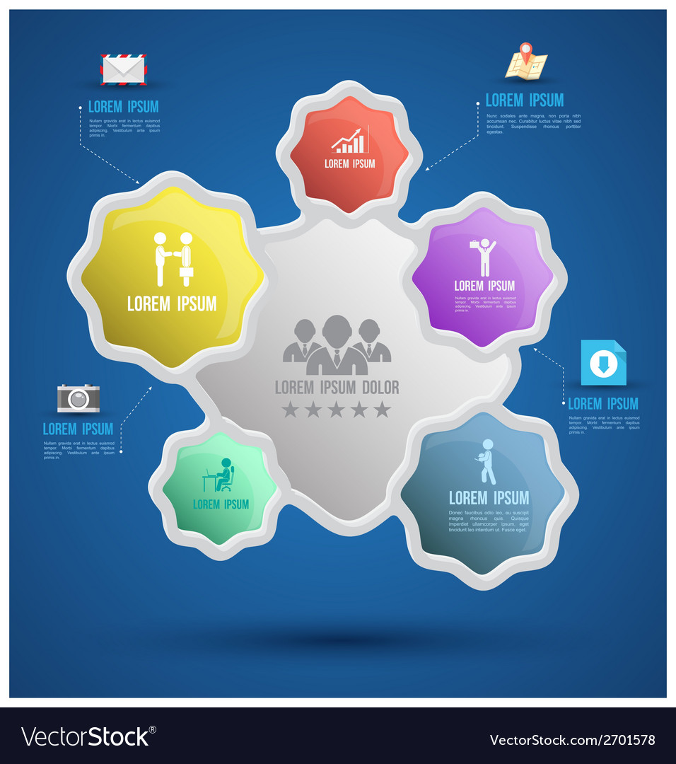 Flower group template with icons vector | Price: 1 Credit (USD $1)