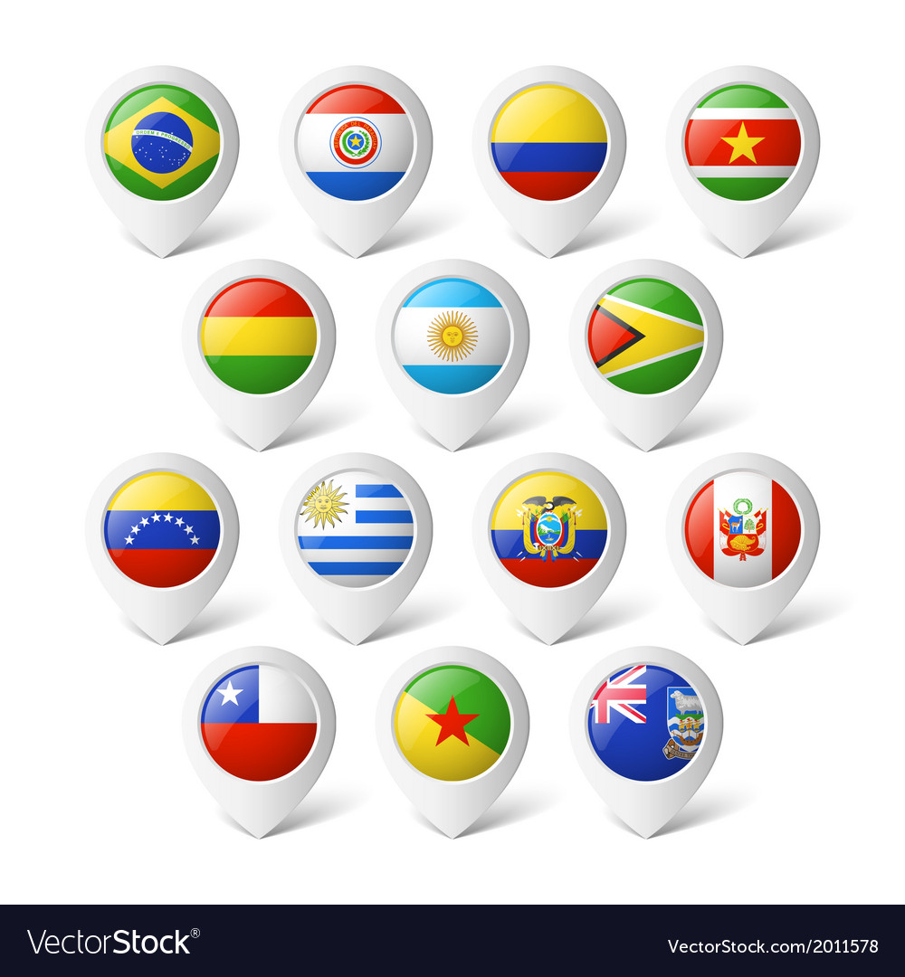 Map pointers with flags south america vector | Price: 1 Credit (USD $1)