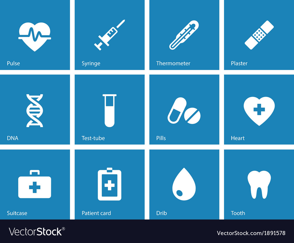 Medical icons on blue background vector | Price: 1 Credit (USD $1)