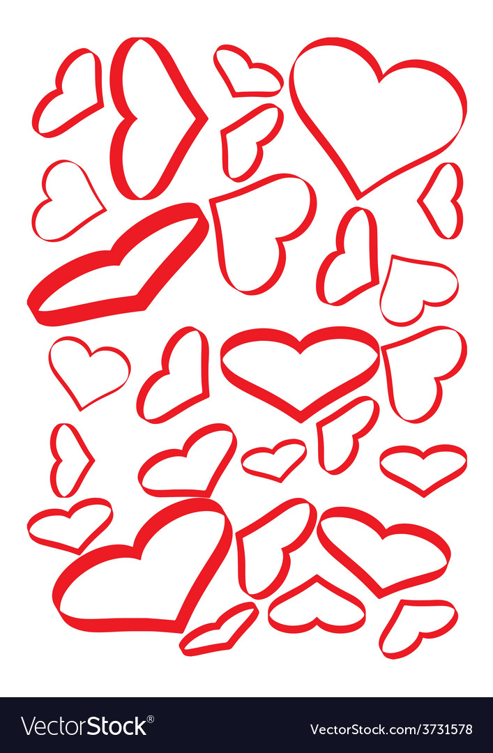 Red hearts set vector | Price: 1 Credit (USD $1)
