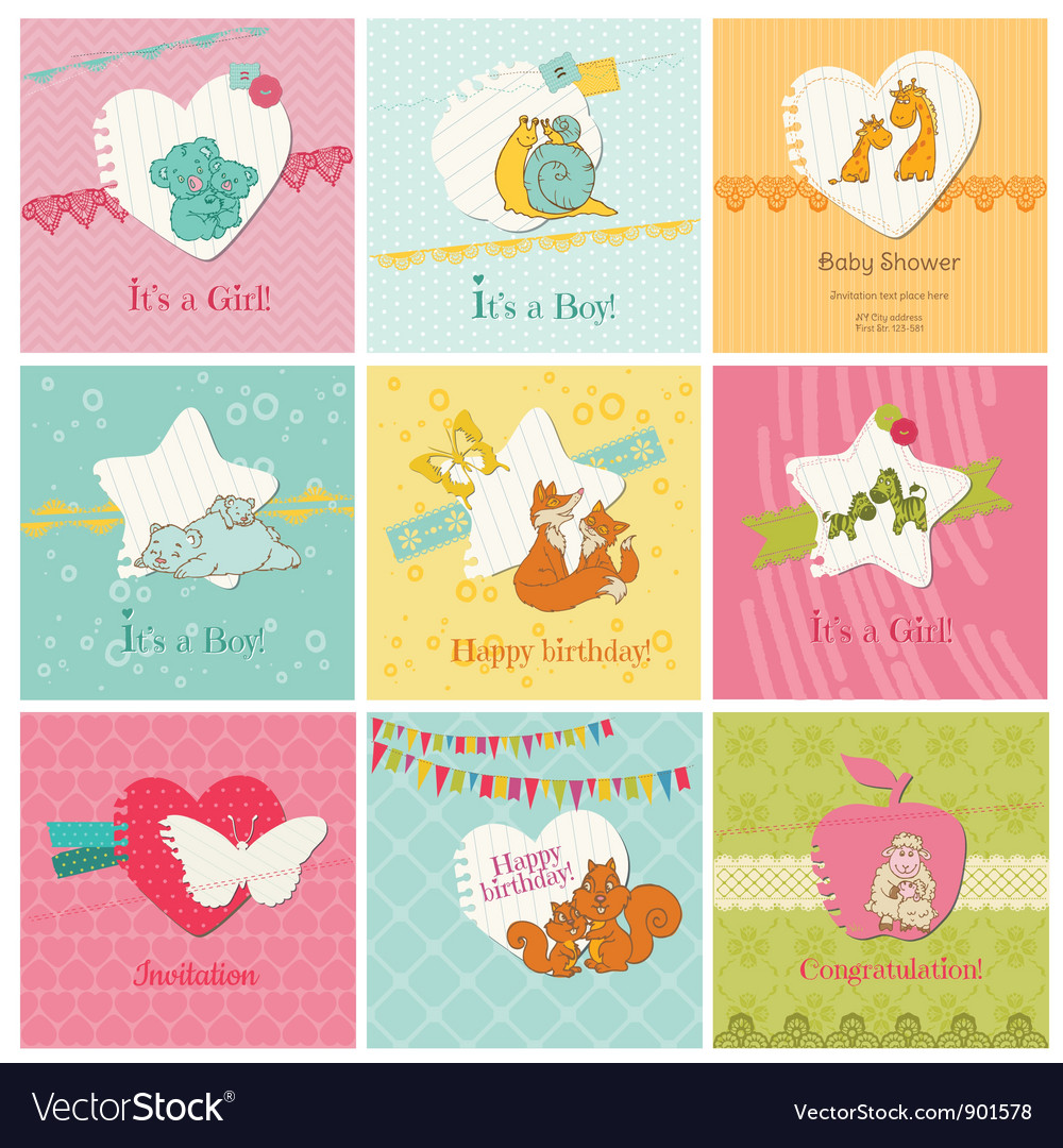 Set of colorful baby cards vector | Price: 1 Credit (USD $1)