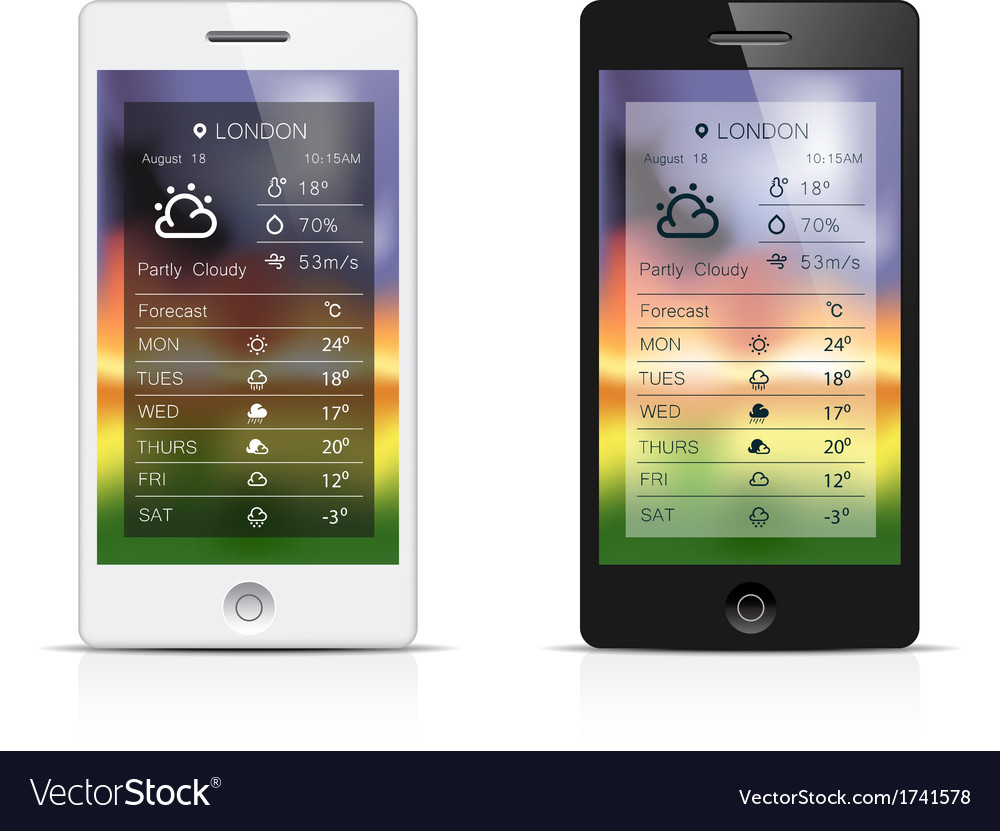 Smart phone weather widgets vector | Price: 1 Credit (USD $1)