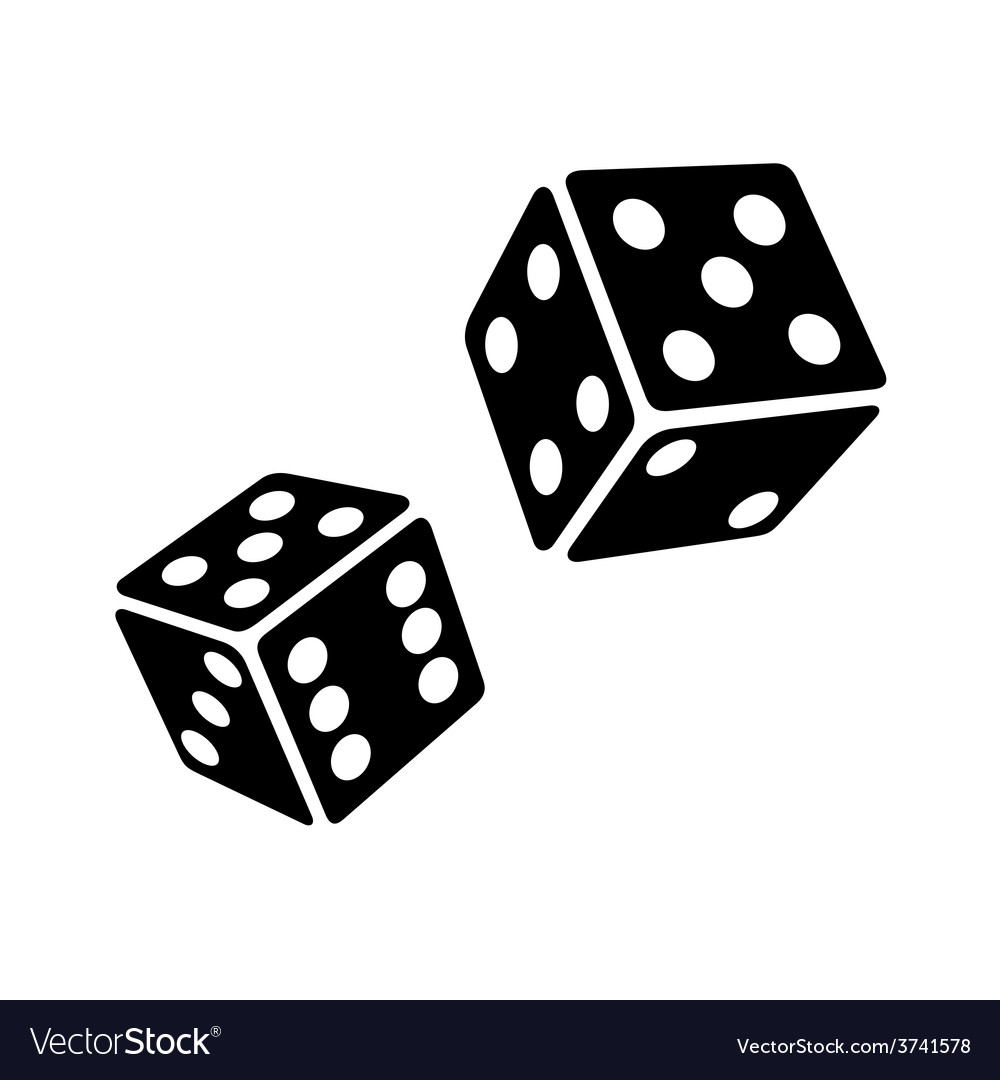 Two black dice cubes on white background vector | Price: 1 Credit (USD $1)