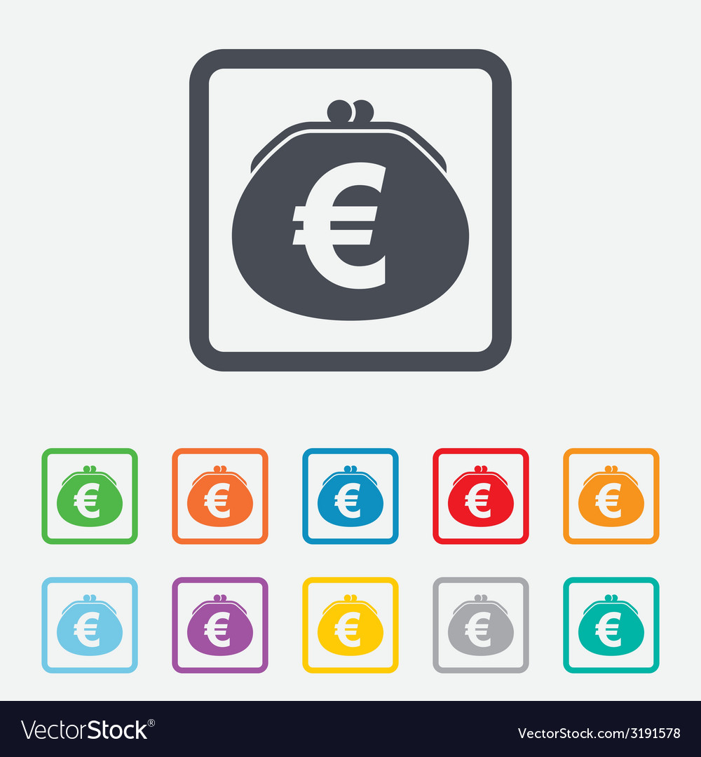 Wallet euro sign icon cash bag symbol vector | Price: 1 Credit (USD $1)