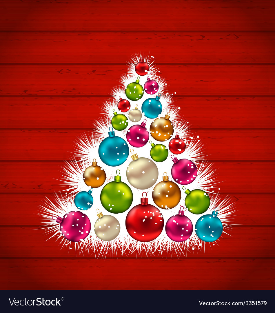Abstract christmas tree and colorful balls on vector   Price: 3 Credit (USD $3)