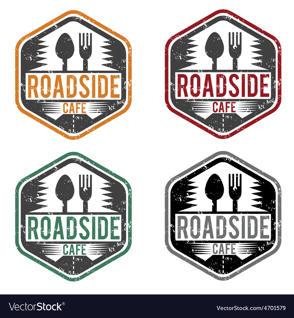 Abstract vintage label with text roadside cafe vector | Price: 1 Credit (USD $1)