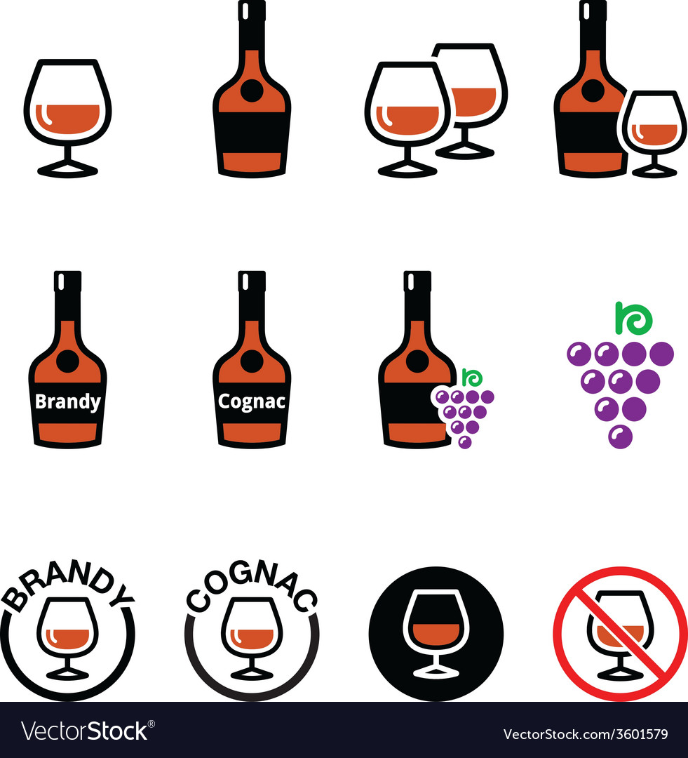 Brandy and cognac icons set vector | Price: 1 Credit (USD $1)
