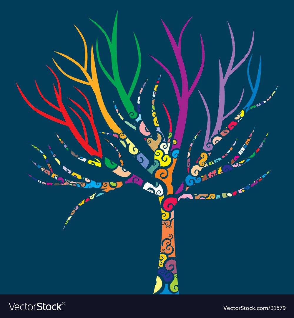 Colored tree vector | Price: 1 Credit (USD $1)