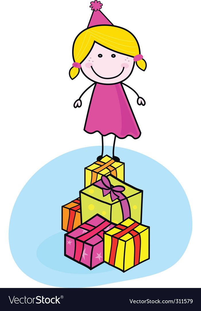 Cute smiling kid with presents vector | Price: 1 Credit (USD $1)