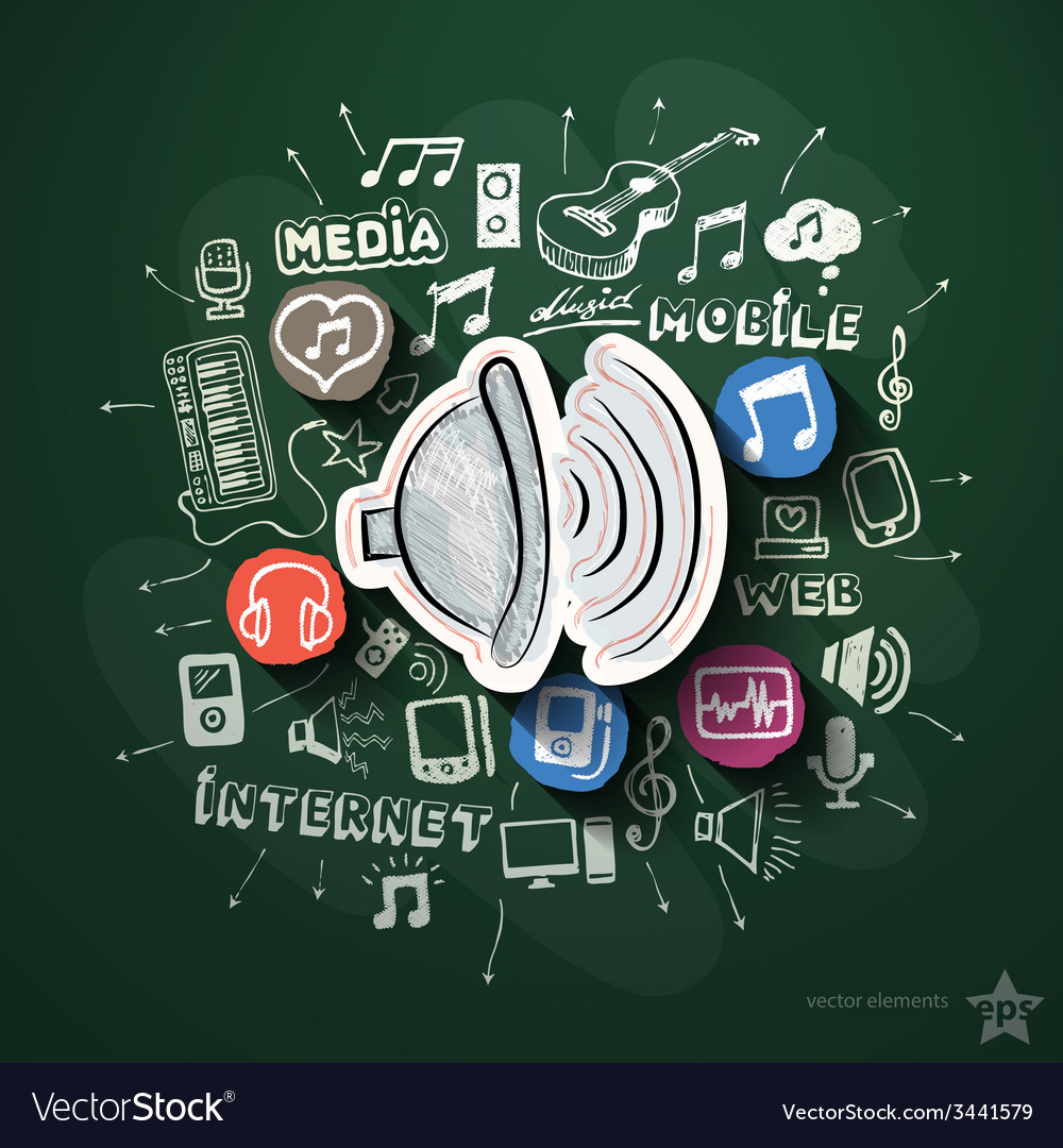 Entertainment and music collage with icons on vector | Price: 3 Credit (USD $3)
