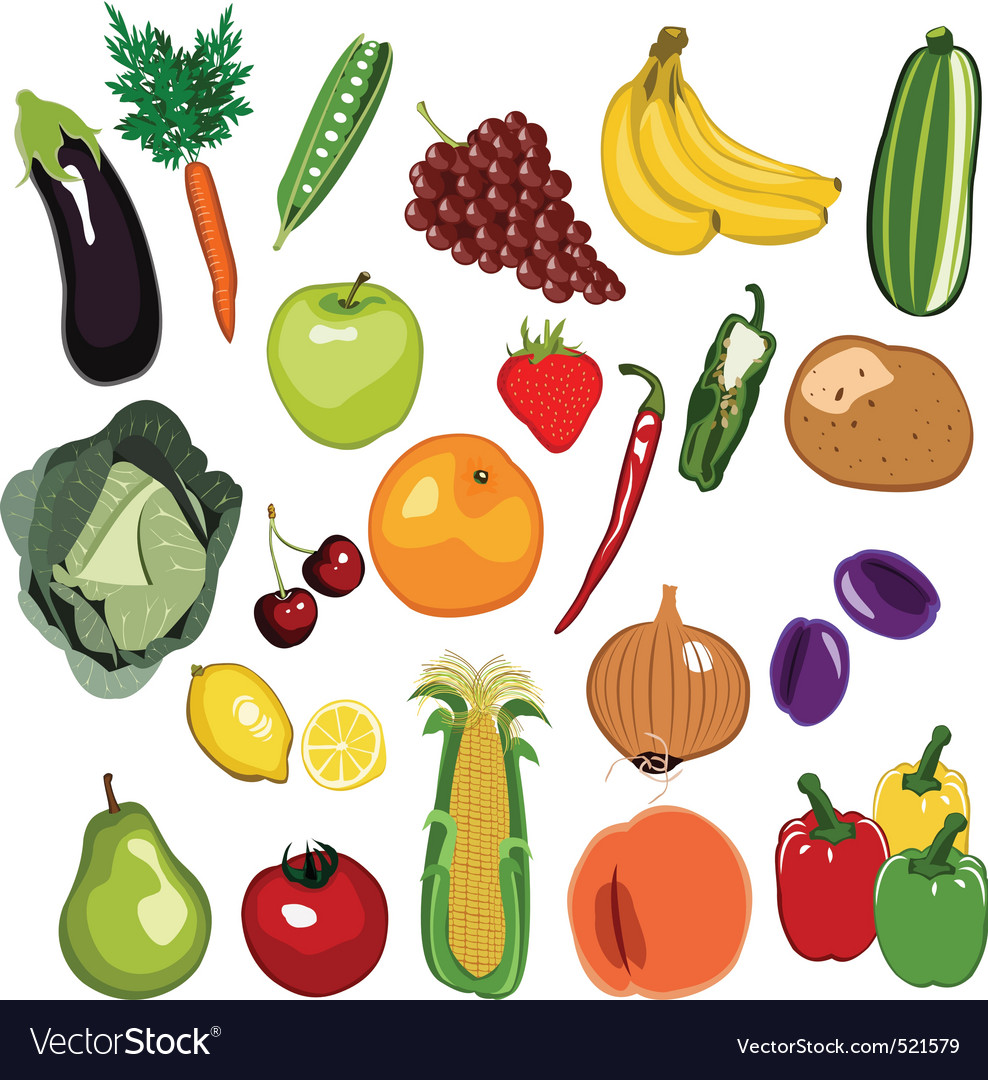 Fruit and vegetable set vector | Price: 1 Credit (USD $1)