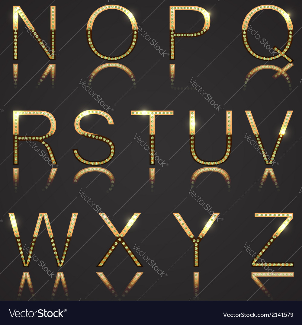 Golden letters with diamonds vector | Price: 1 Credit (USD $1)